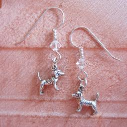Beagle Sterling Silver Earrings