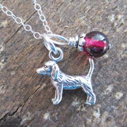Beagle Glass Bead  Sterling Silver Necklace