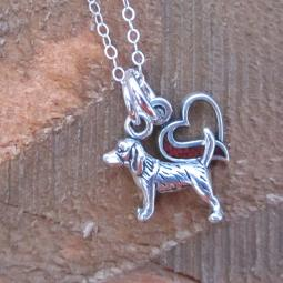 Beagle In My Heart Mini Sterling Silver Necklace
