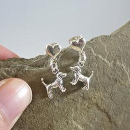 Beagle Mini Heart Sterling Silver Earrings