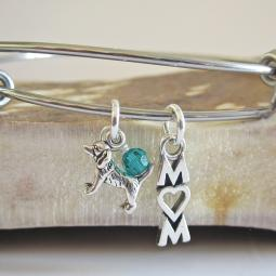"Beagle Mom Stackable Bangle Bracelet (2.5""-3"")"