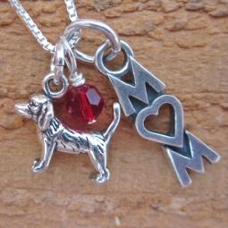 Beagle Mom Mini Sterling Silver Necklace