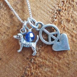 Beagle Mini Peace Love Sterling Silver Necklace