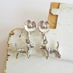 Beagle Poppy Sterling Silver Earrings