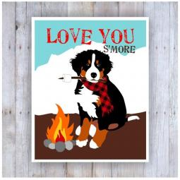 Bernese Mountain Dog Love You S'more Note Card