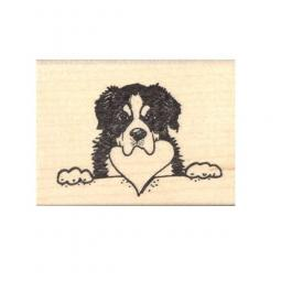 Bernese Mountain Dog with Heart in Mouth Rubber Stamp