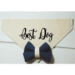 Best Dog with Navy Blue and Beige Bow Canvas Dog Bandana