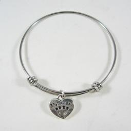 "Best Friend Heart Paw Print Stackable Bangle Bracelet (2.5""-3"")"