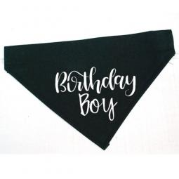 Birthday Boy Black with White Canvas Dog Bandana