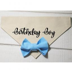 Birthday Boy with Light Blue Bow Canvas Dog Bandana