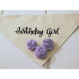 Birthday Girl Dog Bandana with Lavender Fabric Flowers