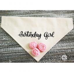 Birthday Girl Dog Bandana with Pink Fabric Flowers