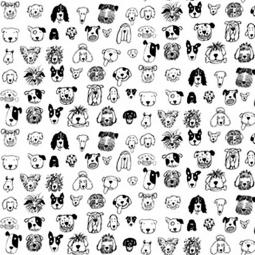 Black and White Dogs Pleated Face Mask