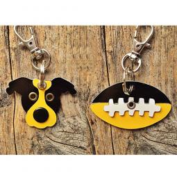 Black and Yellow Pit Bull or Football Metal Rivet Keychains