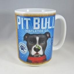 Mistletoe Black and White Pit Bull Coffee Company Mug