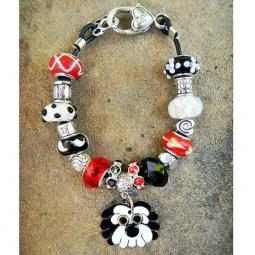 "Black and White Havanese 7.5"" Silver & Glass Bracelet (one of a"