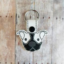 Black with White Ears Pit Bull Vinyl Snap Keychain