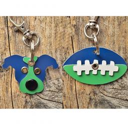 Blue and Green Pit Bull or Football Metal Rivet Keychains