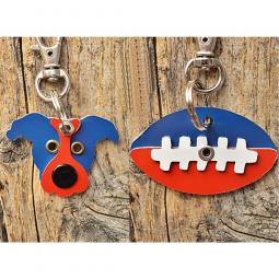 Red and Blue Pit Bull or Football Metal Rivet Keychains