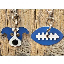 Blue and White Pit Bull or Football Metal Rivet Keychains