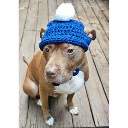 Blue Crochet Hat with White Pom Pom