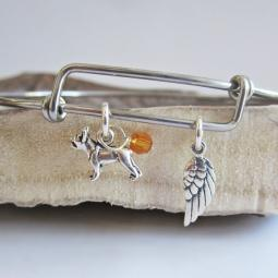 Boston Terrier Mini Angel Wing Stackable Bangle Bracelet