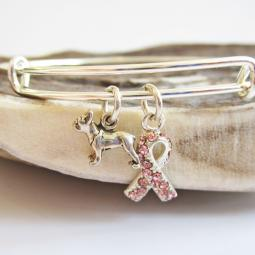 Boston Terrier Breast Cancer Awareness Bangle Bracelet