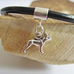Boston Terrier Mini Str Silver European-Style Charm and Bracelet