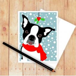 Boston Terrier Mistletoe Christmas Card