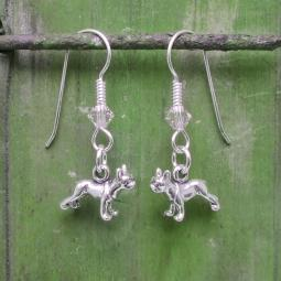 Boston Terrier Sterling Silver Earrings