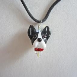 Boston Terrier Glass Pendant Necklace