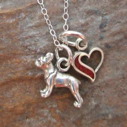 Boston Terrier In My Heart Mini Sterling Silver Necklace