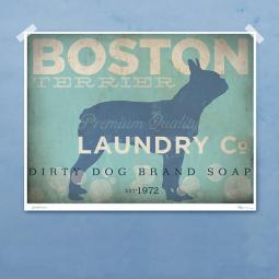 Boston Terrier Laundry Company Silhouette 8x10,11x14 GicleePrint