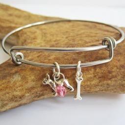 Boston Terrier Mini Bone Stackable Bangle Bracelet