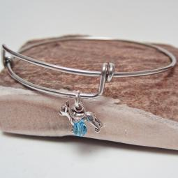 "Boston Terrier Mini Dangle Stackable Bangle Bracelet (2.5""-3"")"