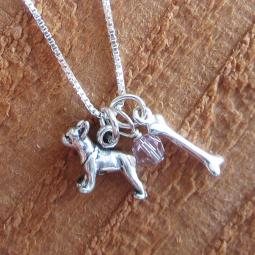 Boston Terrier Dog Bone Mini Sterling Silver Necklace