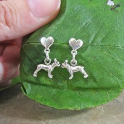 Boston Terrier Mini Heart Sterling Silver Earrings