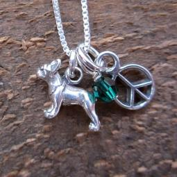 Boston Terrier Mini Peace Sterling Silver Necklace