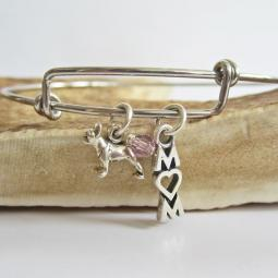 "Boston Terrier Mom Stackable Bangle Bracelet (2.5""-3"")"