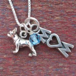 Boston Terrier Mom Mini Sterling Silver Necklace