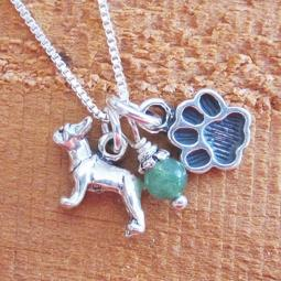 Boston Terrier Mini Paw Print Sterling Silver Necklace