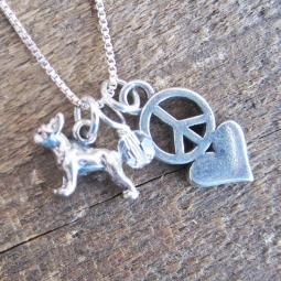 Boston Terrier Mini Peace Love Sterling Silver Necklace