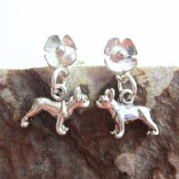Boston Terrier Poppy Sterling Silver Earrings