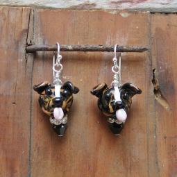 Pit Bull Brindle Glass Earrings