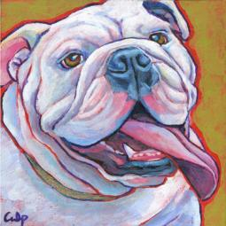 Bulldog Smiling with Tongue Print