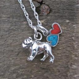 Bulldog Large Double Heart Sterling Silver Necklace