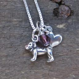 Bulldog Mini Heart Sterling Silver Necklace