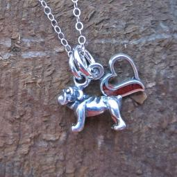 Bulldog In My Heart Mini Sterling Silver Necklace