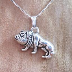 Bulldog Large 2D Silver-Plated Pendant Charm and Necklace
