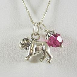 Bulldog Large Charm Sterling Silver Necklace